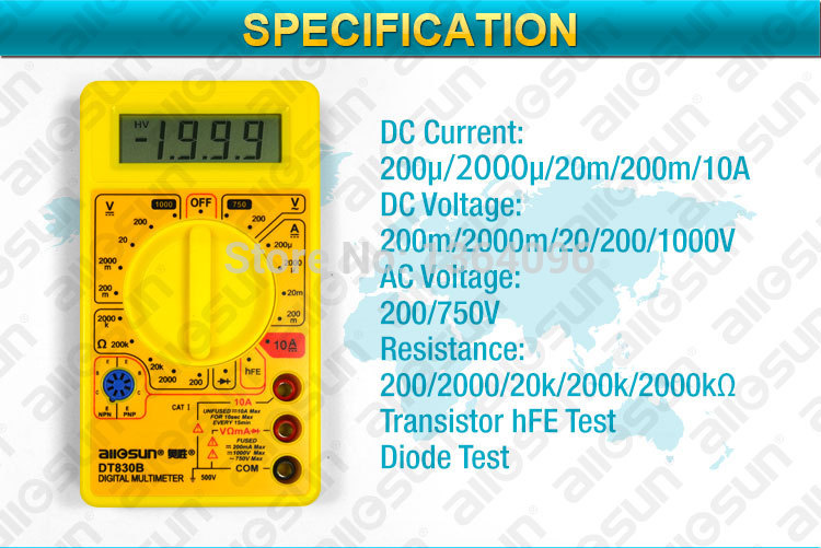 all sun Professional Digital Multimeter AC DC Ammeter Voltmeter Ohm Electrical Tester Portable DT830B not included