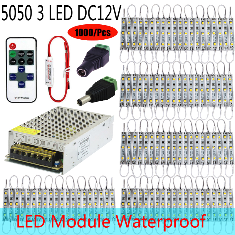 1000/Pieces 5050 SMD 3 LEDs waterproof Module+RF Controller+Power supply String lamp Multi Colors Advertising Lamp Design(China (Mainland))