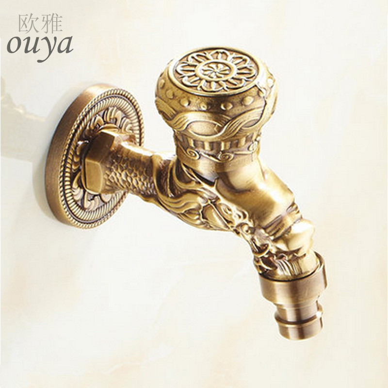 Luxury Decorative outdoor Bibcock Garden faucet tap Antique Brass Finish Bathroom Wall Mount Washing Machine Water Faucet Taps(China (Mainland))