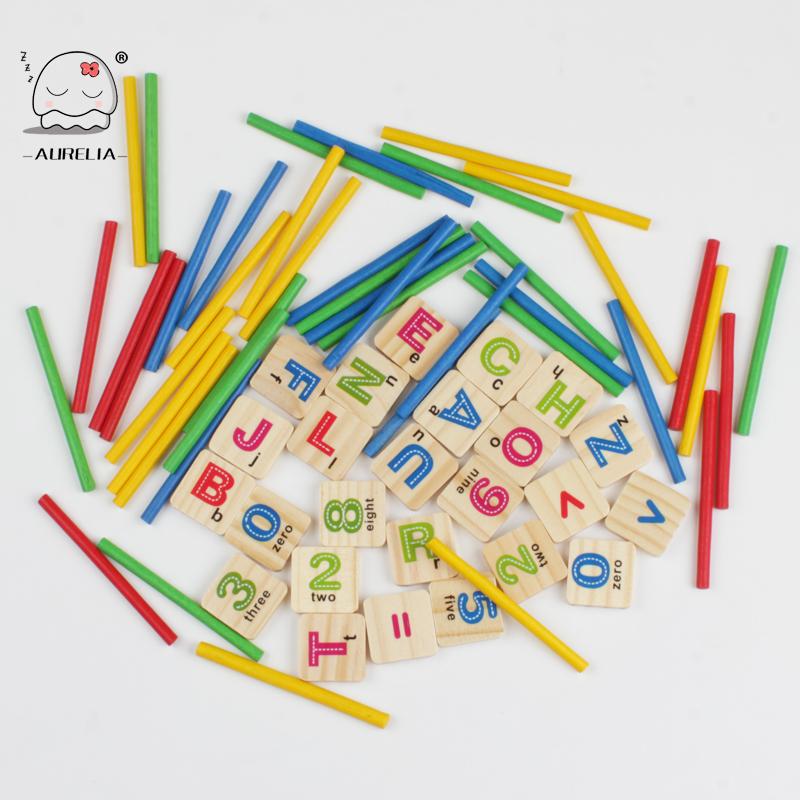 Baby Math Toys Wooden Intelligence Stick Wooden Educational Toys Building Blocks Child Montessori Mathematical Gift(China (Mainland))