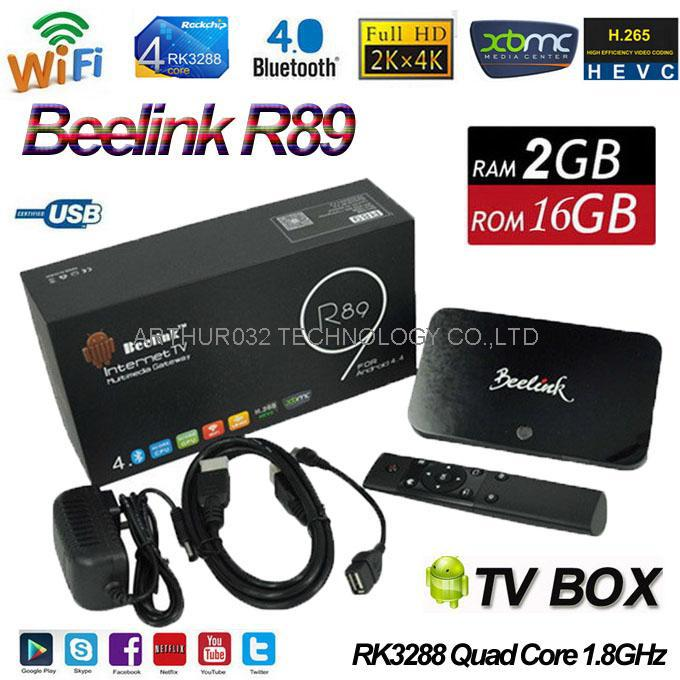 Beelink R89 Android 4.4 TV Box RK3288 Quad Core Wifi 5G AC 4K 2G/16G Mali-T764 XBMC IPTV Receiver H.265 Miracast DLNA Bluetooth(China (Mainland))