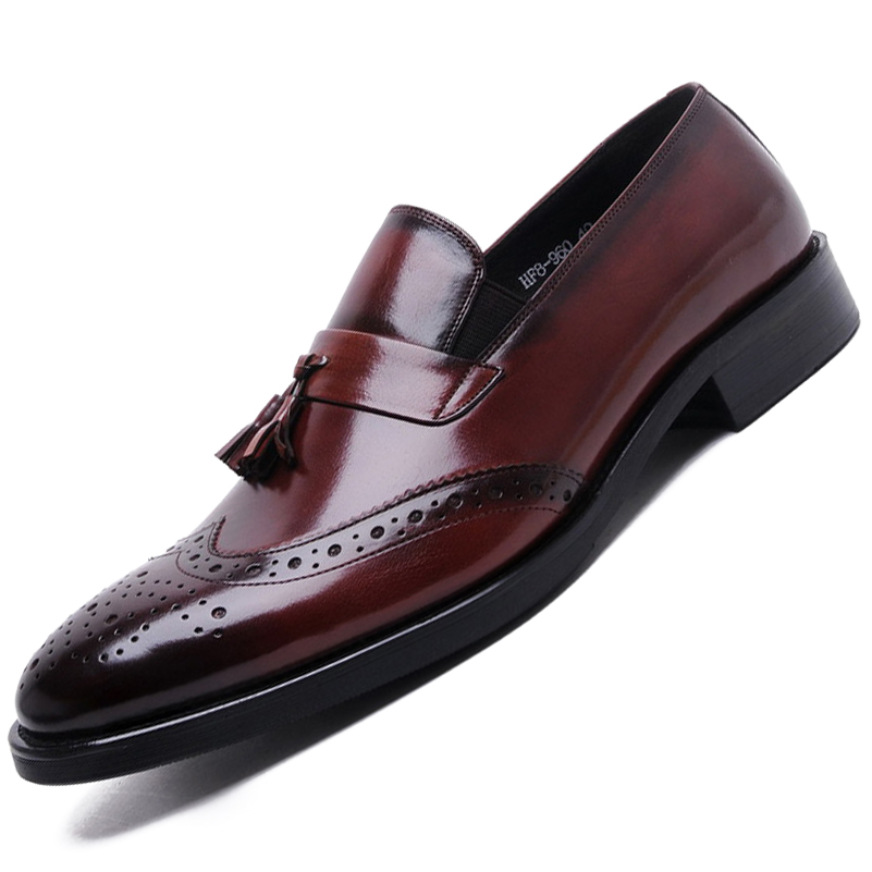 New tassel vintage oxford shoes mens British Style slip-on Carved Genuine Leather Shoes Black Brown Fashion Bullock Men Flats(China (Mainland))