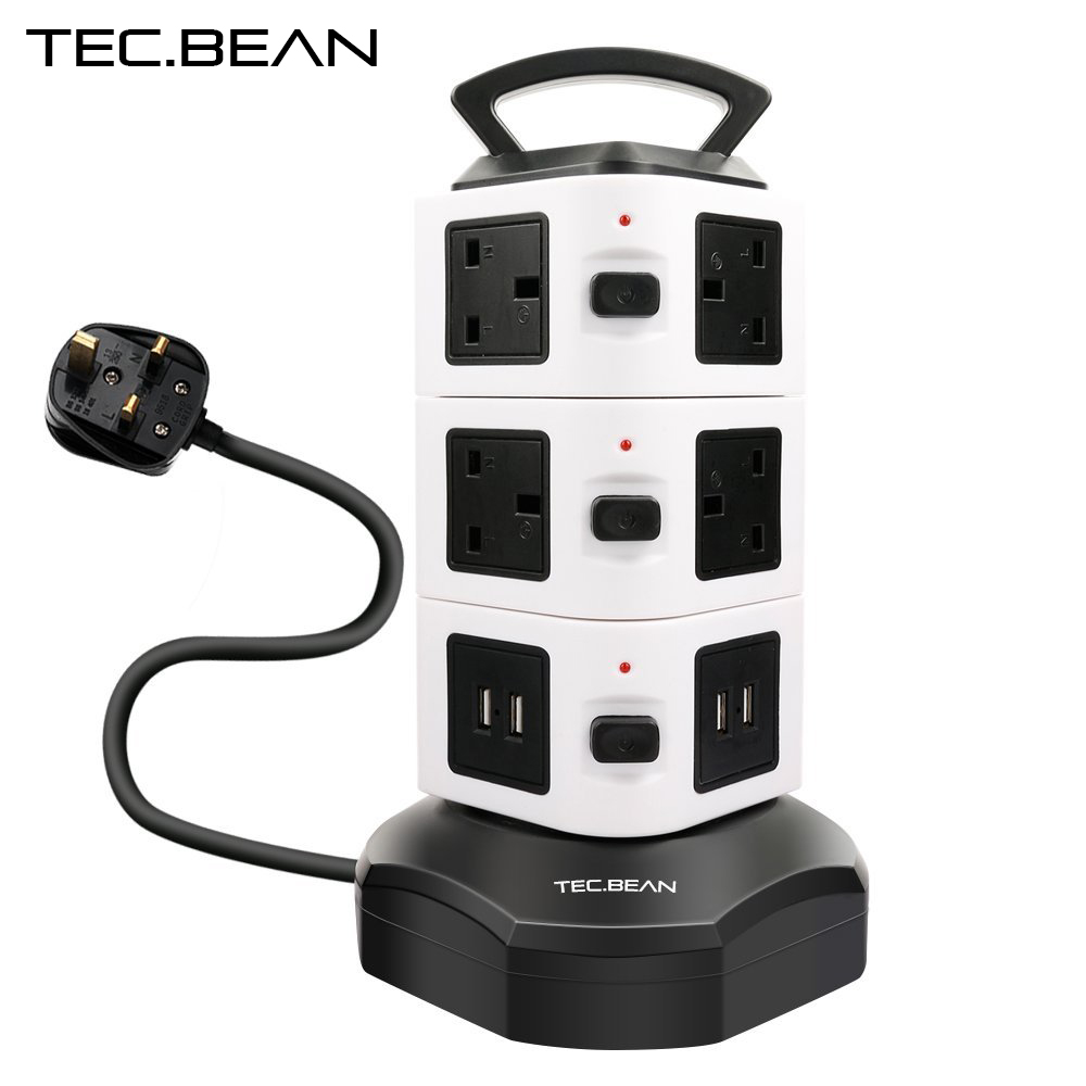 TEC.BEAN 3M 4 USB 10 Way UK Plug Outlet Extension Lead Surge Protector Vertical Power Strip with USB Charging Ports Station(China (Mainland))