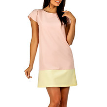 2016 Women Summer Style Fashion Casual Tshirt Dresses Pink Short Sleeve O-neck Mini Party Shift Dress(China (Mainland))