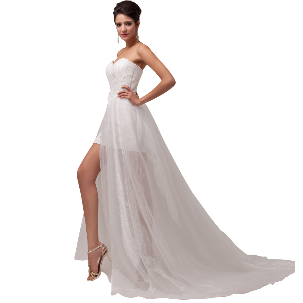 Buy beach style stock strapless empire for Strapless wedding dresses with long trains