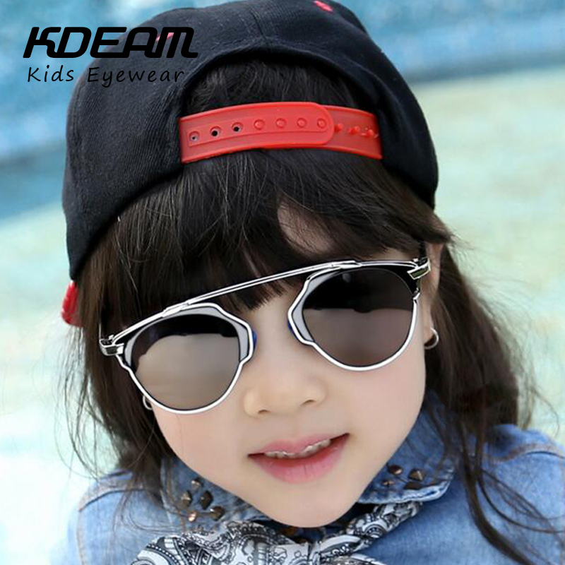 KDEAM 2016 Summer Hot Kids Sunglasses Fashion Vintage Metal Cateye Eyewear Children Glasses Luxury Brand Designer Sunglass gafas