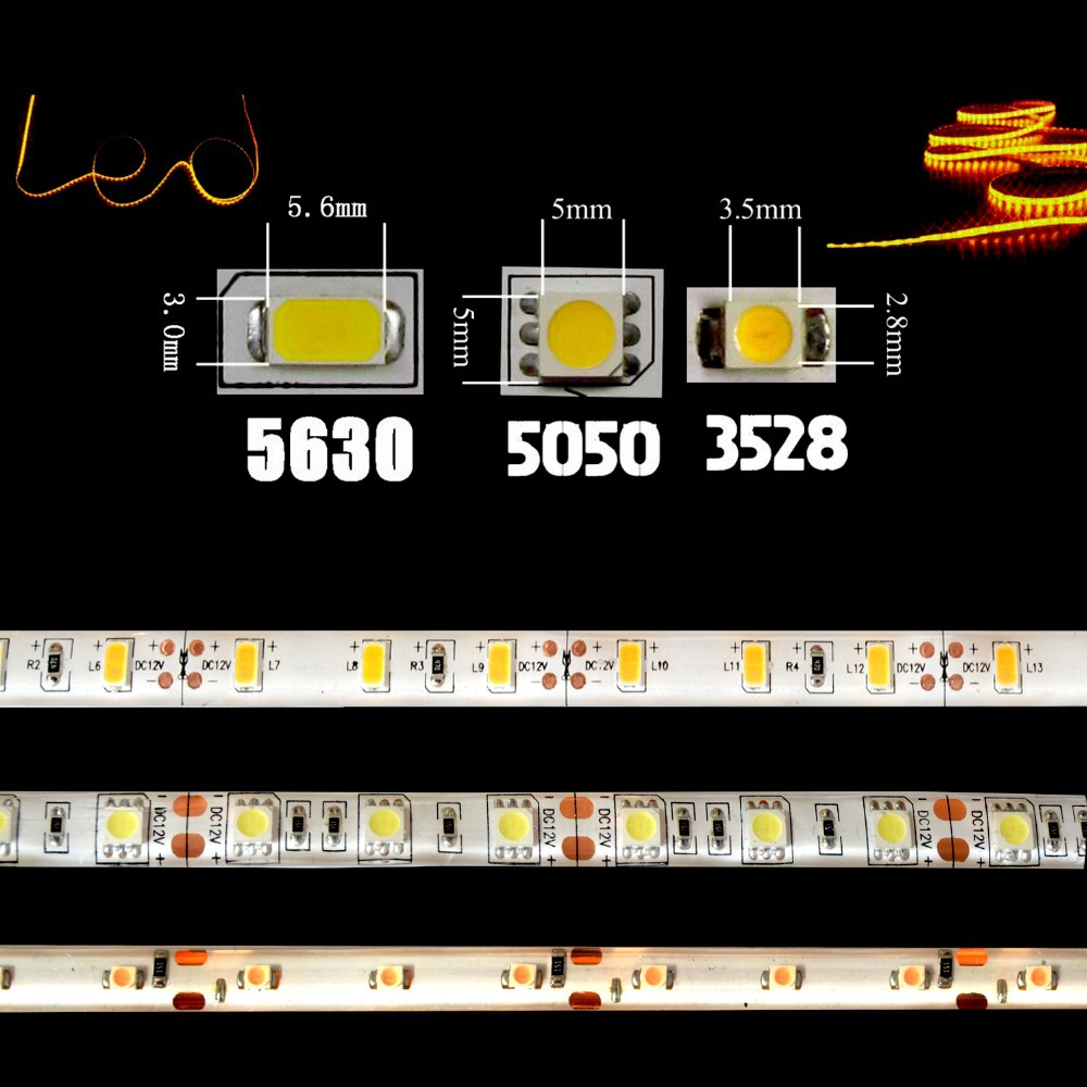 Из светодиодов полосы 5050 5630 3528 12 в постоянного тока В ip65 водонепроницаемый гибкие света DIY 1 м / 5 м 60 светод. / M лента украшение дома лампы свет автомобиля