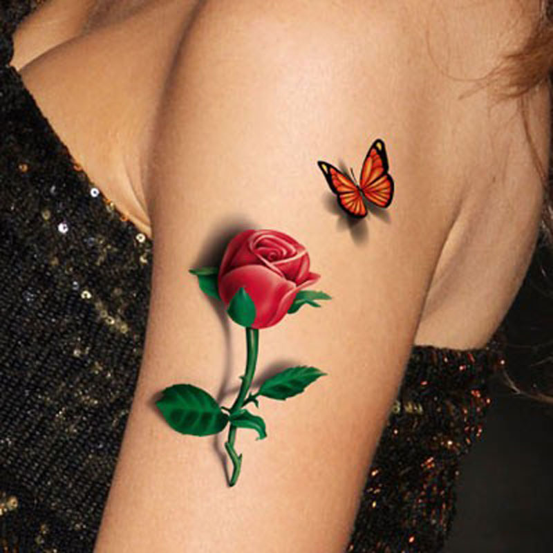 tatoo 3d rose tattoo 2015 flower fake butterfly temporary