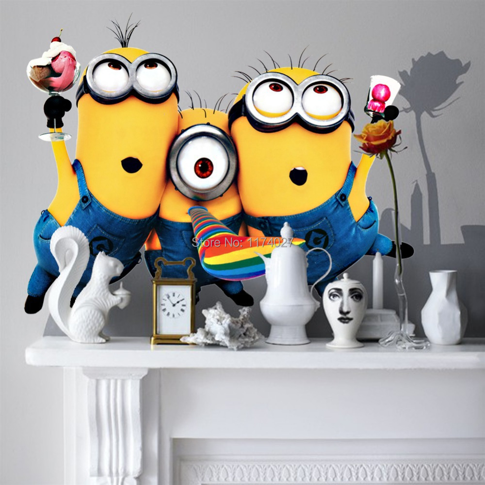Hot Selling Minion Wall Sticker Home Decor Despicable Me 2 Movie Decal Removable Art Kids /Nursery room decoration(China (Mainland))