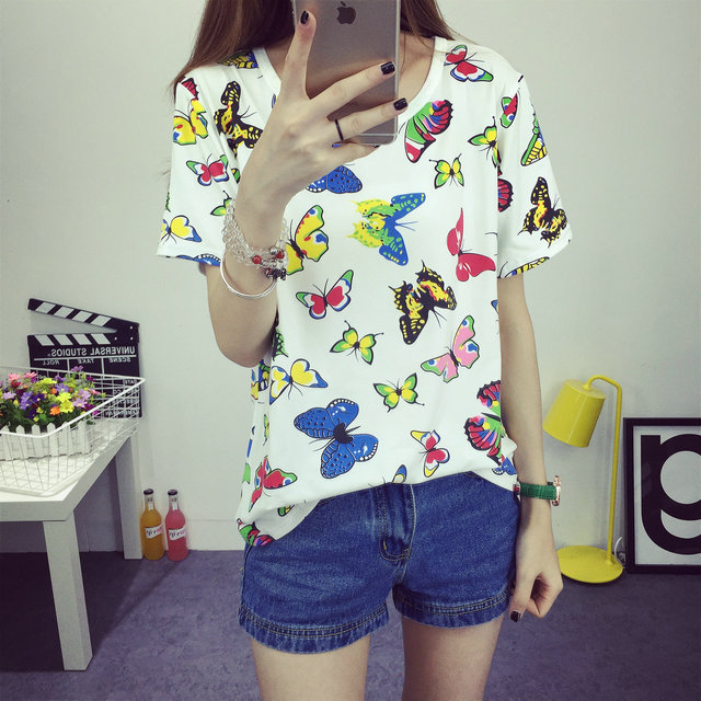 Butterfly Print Tee Shirt 2016 Women's Casual Clothing New Summer Fashion T-Shirt Printed Tee Lovely Short Sleeve Tops O-neck(China (Mainland))