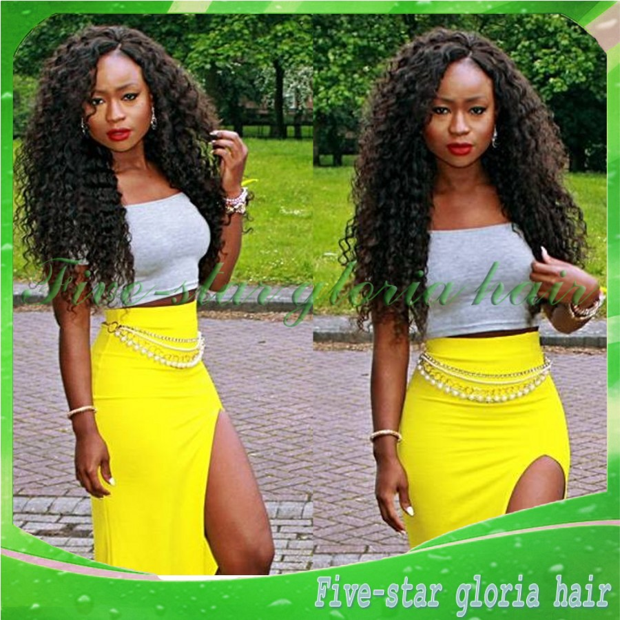 Unprocessed brazilian deep wave natural hairline glueless full lace wigs /lace front black women - Five-star Gloria hair products Co.,LTD store