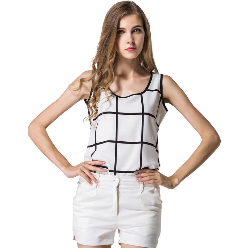 2016 new big chiffon shirt sleeveless summer Europe and font b chequered b font linen top