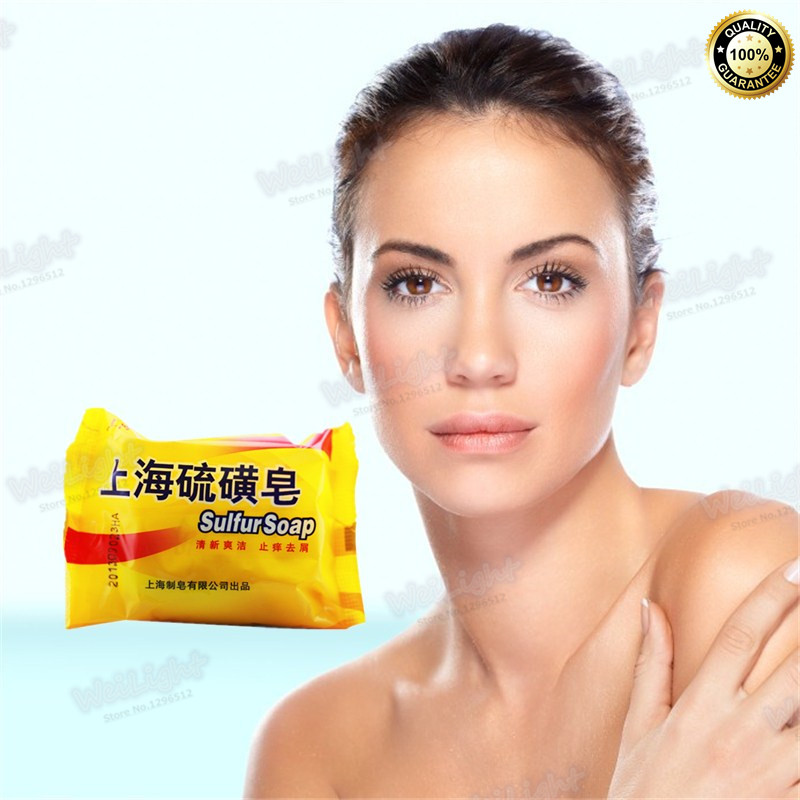 2016 Skin Natural Sulfur Soap Oily Skin Hair Wash Blackhead Pore Strips Remover Cleansing anti itching Shampoo Shower Soap(China (Mainland))