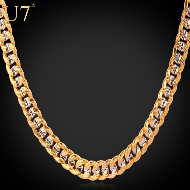 "U7 Two Tone Necklace With ""18K"" Stamp Real Gold Plated Men Jewelry Wholesale Trendy 4 Size Long Cuban Link Chain Necklace N379(China (Mainland))"