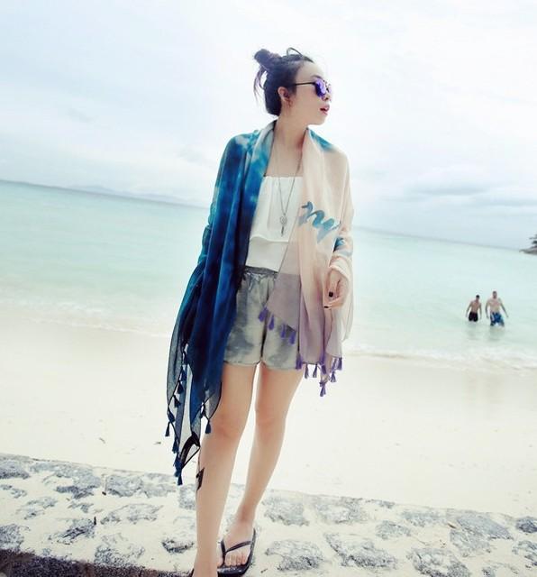 Новые 2016 шарф шифон шелковый шарф женщины граффити чернила цветы шали обруча шарфы кисточкой Bufandas горячая распродажа