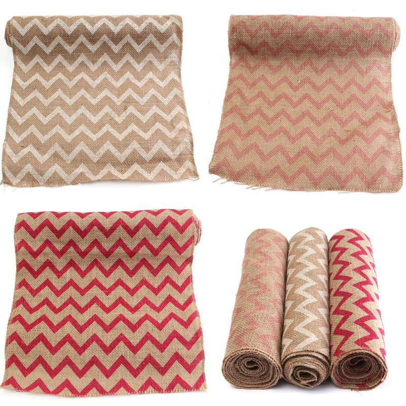 Wholesale 3m*30cm Chevron Natural Hessian Burlap Ribbon Rustic Jute Packaging Ribbon Knitting Table Runner all For Weddin Decor(China (Mainland))
