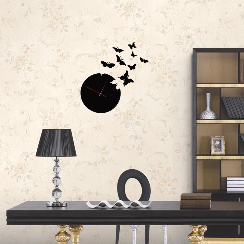 Noir papillon horloge promotion achetez des noir papillon for Decoration murale papillon 3d noir