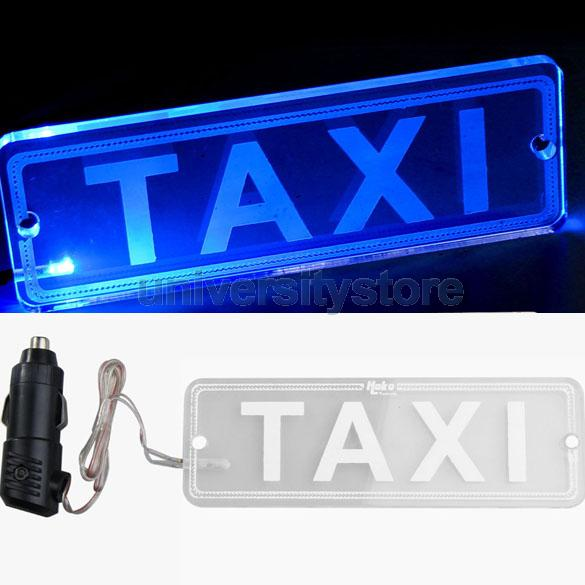 Blue LED Transparent PMMA TAXI Board Neon Light Lamp with Car Charger 12V CA1T(China (Mainland))