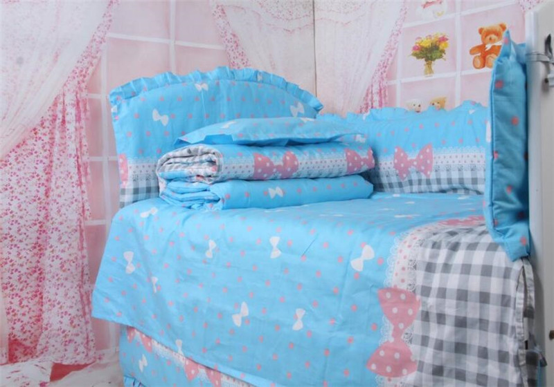 Promotion!Bed Baby Bumper Set,Blue Sky Colored Crib Bedding Quilt Bedclothes,Free Shipping Washable Newborn Baby Crib Bed Around<br><br>Aliexpress