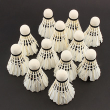 12 Pcs Portable White Goose Feather Training Badminton Balls Shuttlecocks Sport Products(China (Mainland))