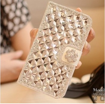 Bling Diamonds PU Leather Flip Wallet Cases Covers Samsung Galaxy Mega 6.3 i9200 i9205 - Emily Shaw's store