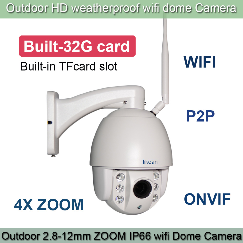SONY IMX322 HD 1920*1080P WIFI IP Camera 4X Zoom 2.8-12mm lens 2.0MP Outdoor PTZ IP Camera IR cut Onvif Built-in 32G TFCard cam(China (Mainland))