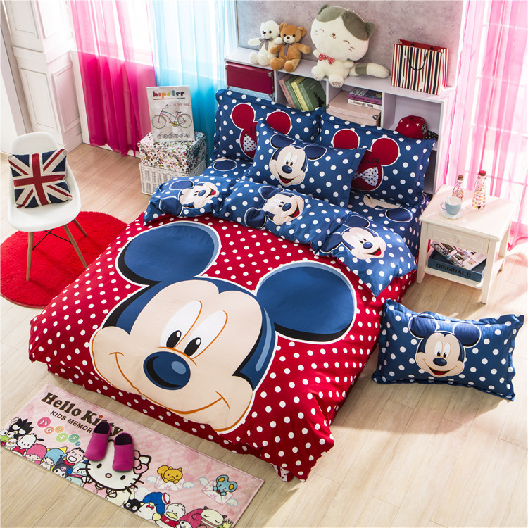 100% Cotton 4pcs Cartoon bedding mickey and minnie kids mouse bedding sets with duvet cover set flat sheet king/twin/queen size()