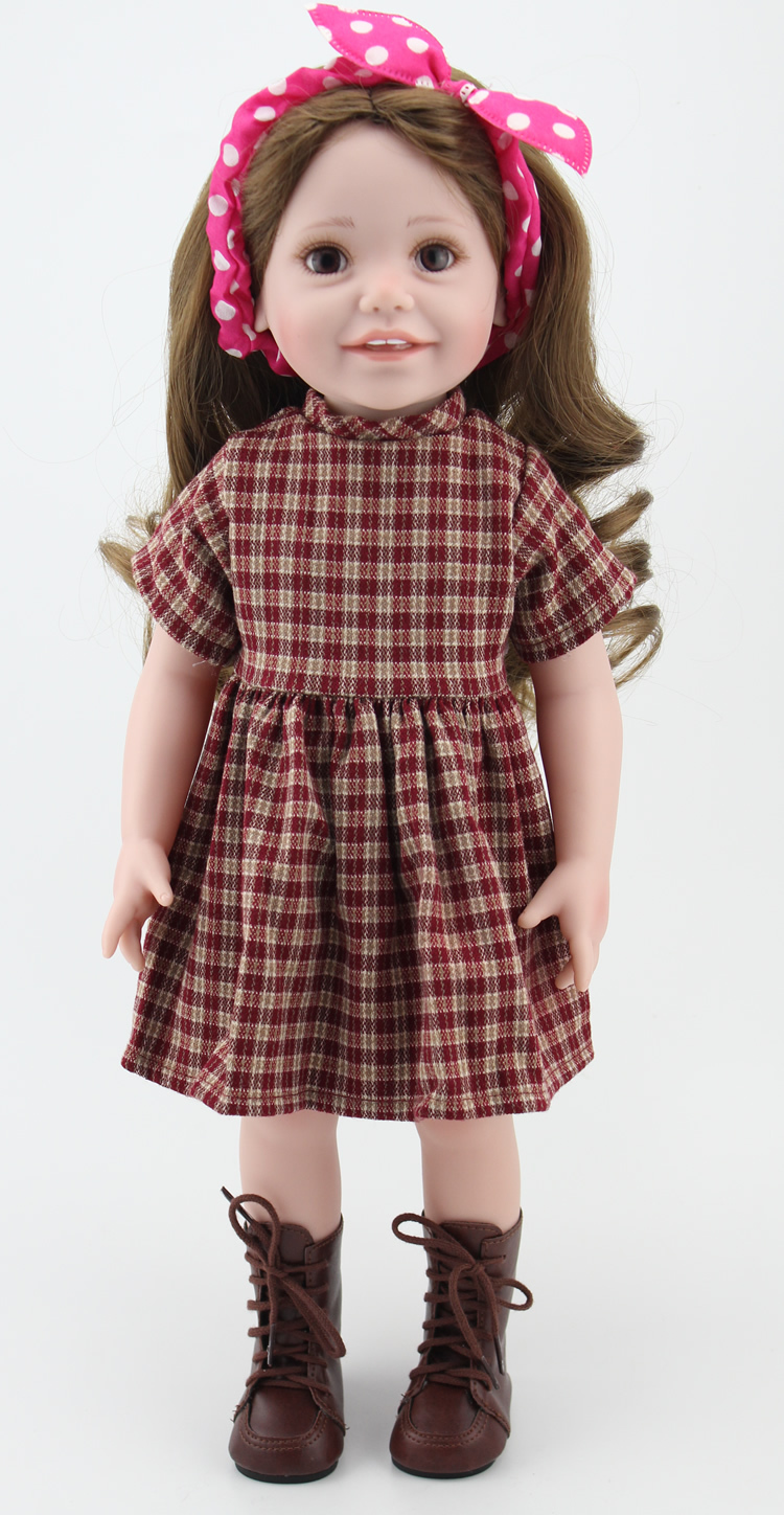 Buy 18 Inch Full Vinyl Girl Dolls With Vintage Style Doll Dress Clothes And