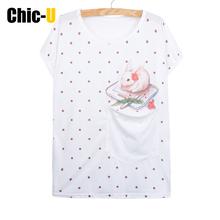 Chic-U Women Summer T shirt Cotton pocket 3D print pink dot cute rabbit sit on pad Short Sleeve Harajuku Tee Top Femme Plus Size(China (Mainland))