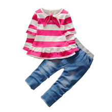 Buy BibiCola Spring Autumn children girls clothing sets stripe clothes bow tops t shirt jeans leggings pants baby kids 2pcs suit set for $10.94 in AliExpress store