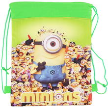2016 New! Minion bags Children School Bags For Girls &Boys Cute Cartoon Kids Drawstring Backpack  two side Gifts Back To School(China (Mainland))