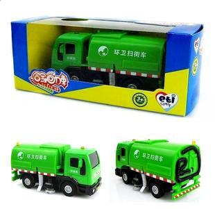Wholesale ETI alloy sound light plastic die-cast car model children toy car gift Street sweeper clean car green color(China (Mainland))