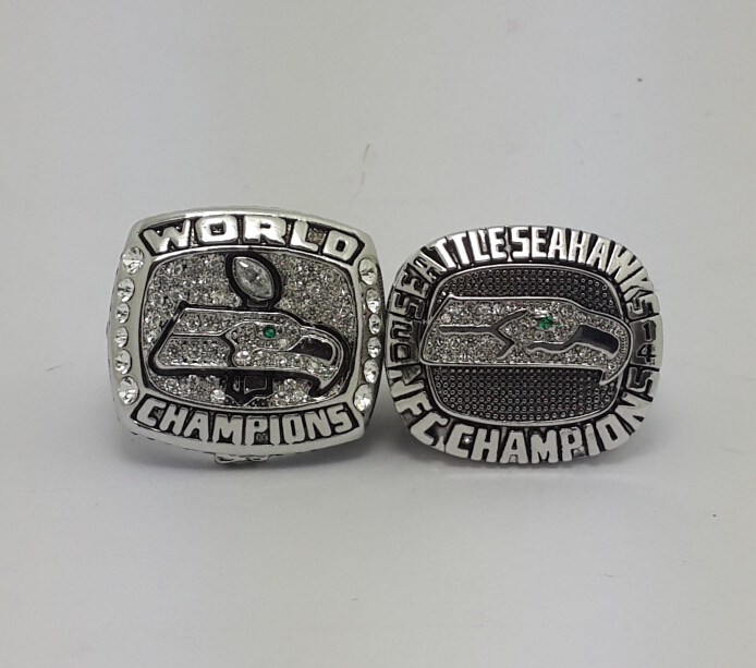2013 2014 Seattle Seahawks Super Bowl Championship ring 2PCS size 8 9 10 11 12 13 14 Back Solid Best gift for fans(China (Mainland))