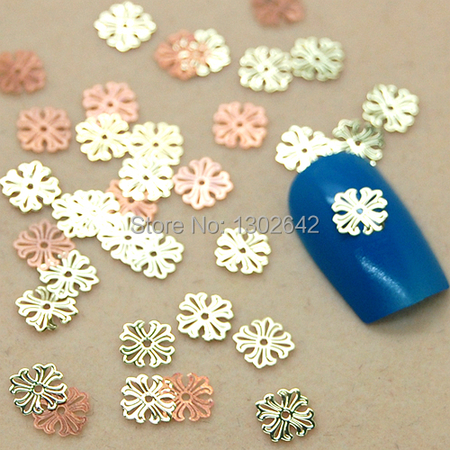 K34 200pcs/lot Fashion Round Cross Flower DIY Metal Sticker Nail Art Tiny Slice Metal Decoration For Nails(China (Mainland))