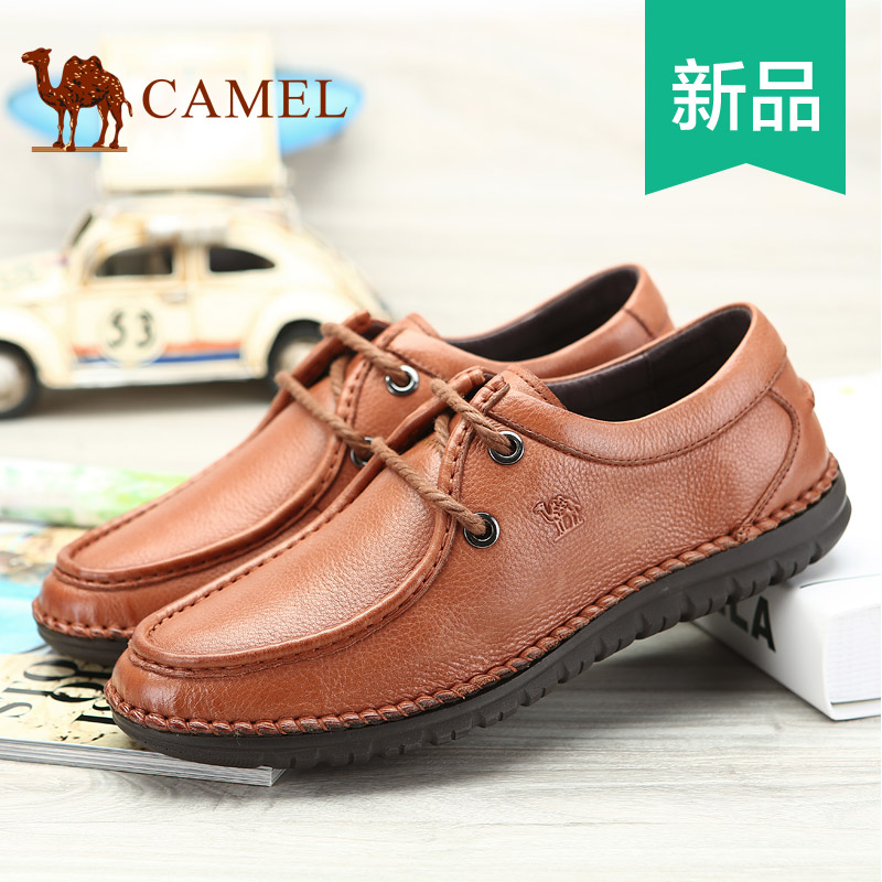 camel daily casual shoes round toe lacing genuine mens leather shoes  2014 trend shoes<br>