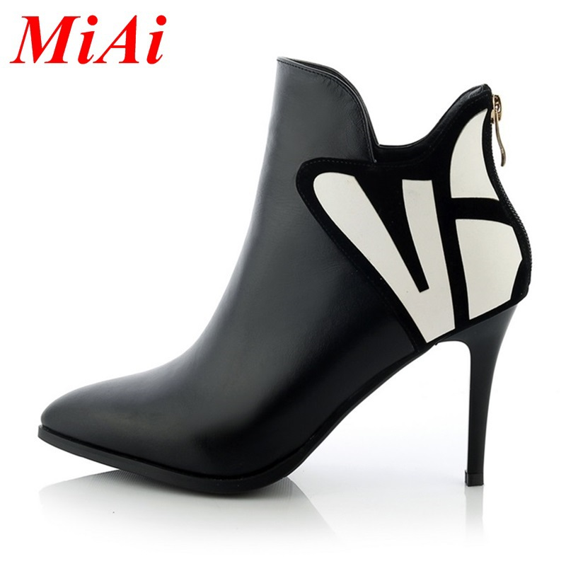 2015 new winter fashion women shoes pointed zipper wedding shoes women high heels ankle boots black red beige boots women 33-40<br><br>Aliexpress