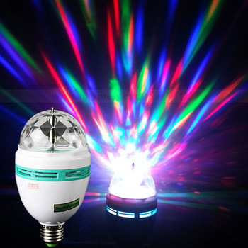 3W E27 Full Color LED Crystal Voice-activated Rotating Stage Light DJ Lamp Light Bulb Stage Lighting Free Shipping Wholesale