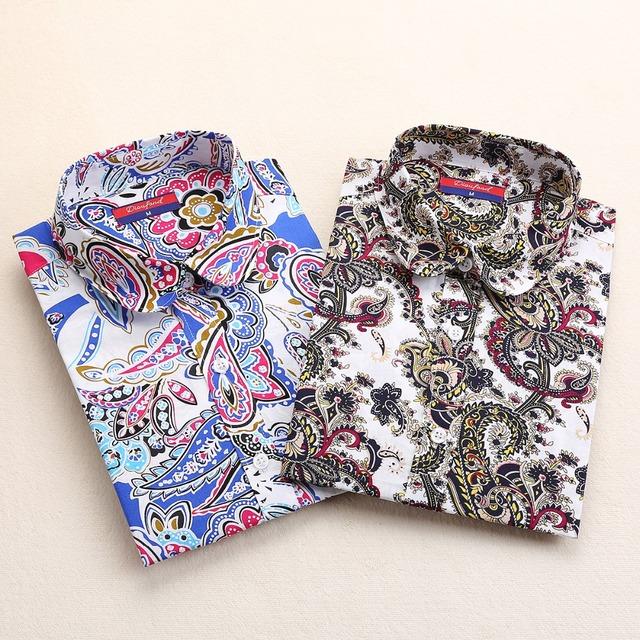 Новая винтажная цветочные блузки рубашки женщины урожай с отложным воротником топы ...