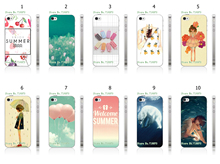 Mobile Phone Cases 10pcs/lot Summer Series Protective Plastic White Hard Case Cover For Iphone 4 4S Free Shipping