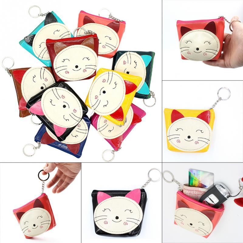 1 шт. прекрасный кот печать кошелек кошелек прекрасный небольшой монетами мешок изменения животных печатные молнию сумки случайный цвет