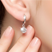 Luxury Quality Super Dangle 2 Carat  NSCD Simulated Diamond Clip On Earrings For Women Sterling Silver  ,Birthday Gift(China (Mainland))