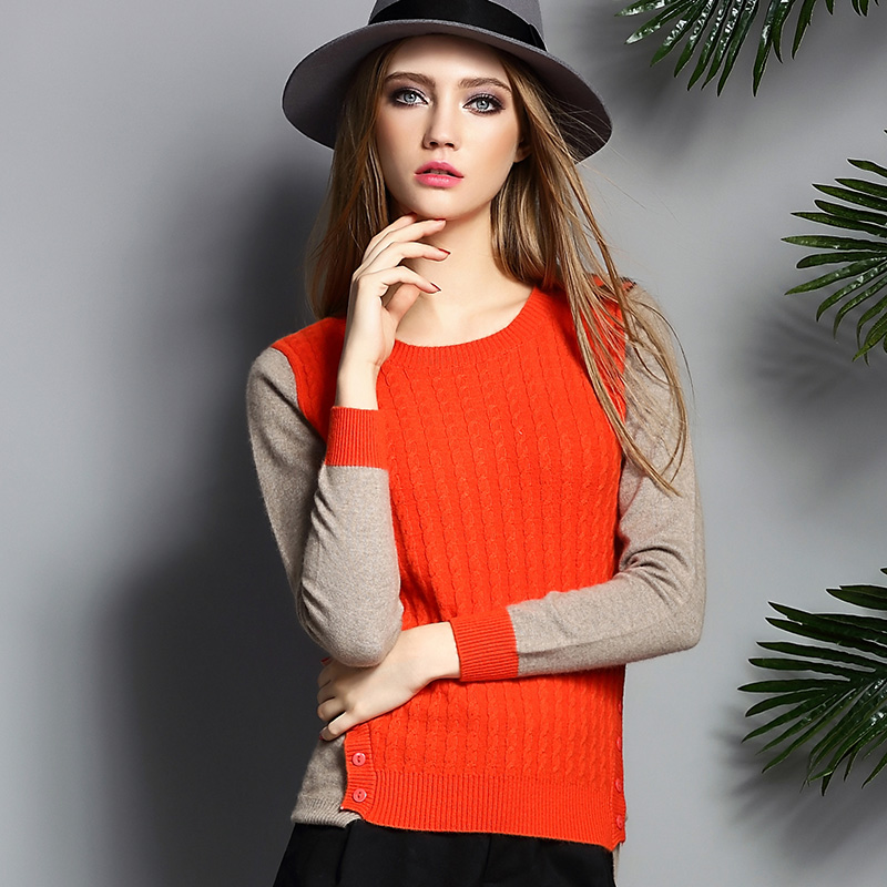 Women's 100% Pure Cashmere Long Sleeve Crewneck Sweaters Pullover 2015 Ladies Autumn Winter Slice Twist Slim Sweater Jumpers