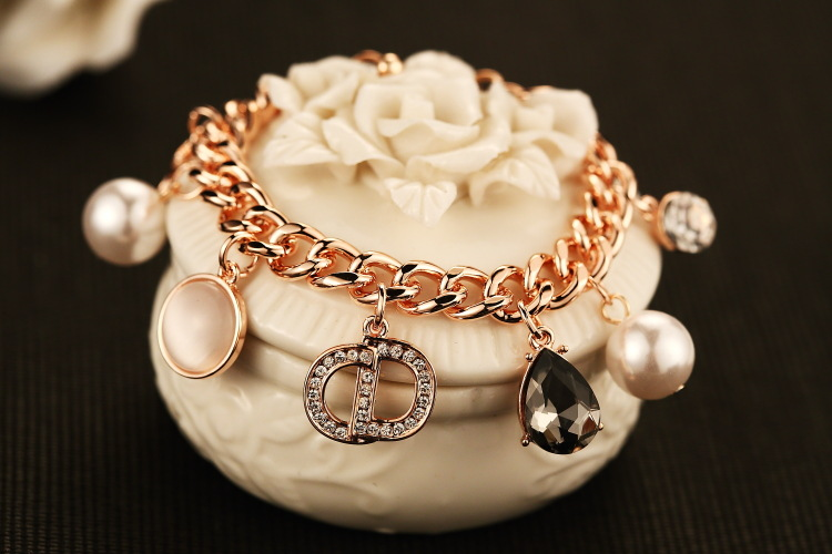 Gold Filled Chain Bracelet CZ Pearl Crystal numbers Charms Braclets Bangles Luxury Jewelry Fashion Bracelet For Women And Girls(China (Mainland))