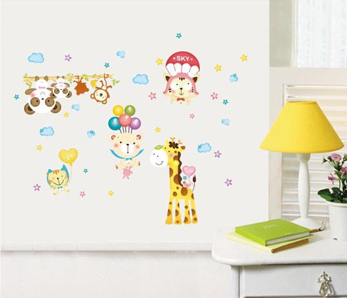 Animal giraffe removable wall decals stickers art mural for Animal room decoration games
