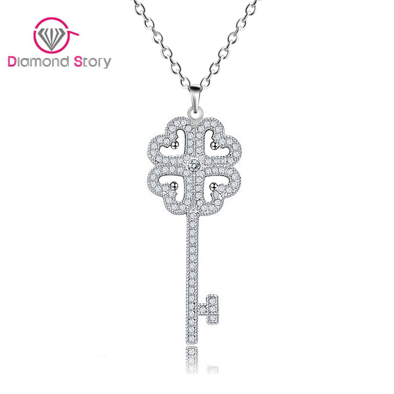 Teemi Hot Sell Tiny Cubic Zirconia Inlay Key Neckalce White Gold Plated Chain Key Pendant Necklace for Girl Factory Wholesale(China (Mainland))