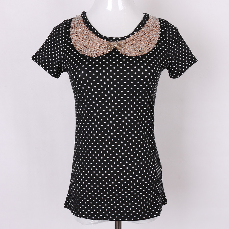 2015 european style summer shirts women sequins doll collar short shirt tee print fashion bow cotton free shipping(China (Mainland))