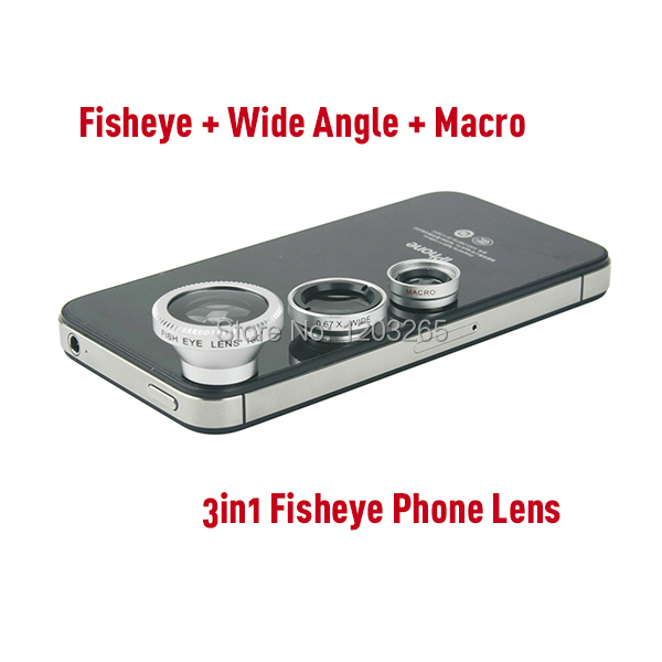 Universal Magnetic Catche 3 in 1 Fish eye Wide Angle Macro fisheye mobile phone lens For iPhone6 5S Samsung HTC Moto All phones
