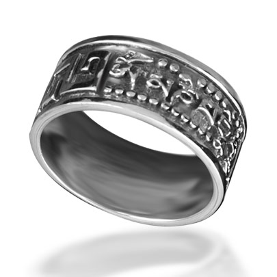 Bahamut 925 silver mens jewelry Buddhism Six Words Ring - om mani padme hum<br><br>Aliexpress