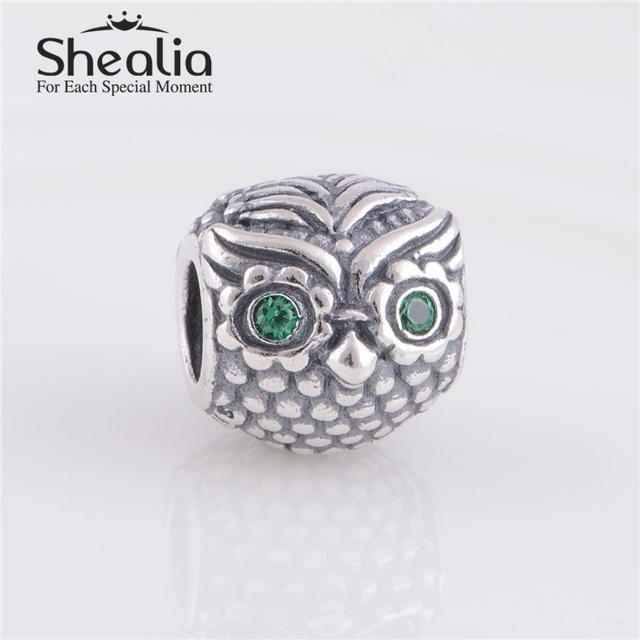 Shealia ювелирные изделия стерлингового серебра 925 животные мудрый филин подвески с зеленым циркон для женщин известный браслеты DIY изготовления ювелирных изделий