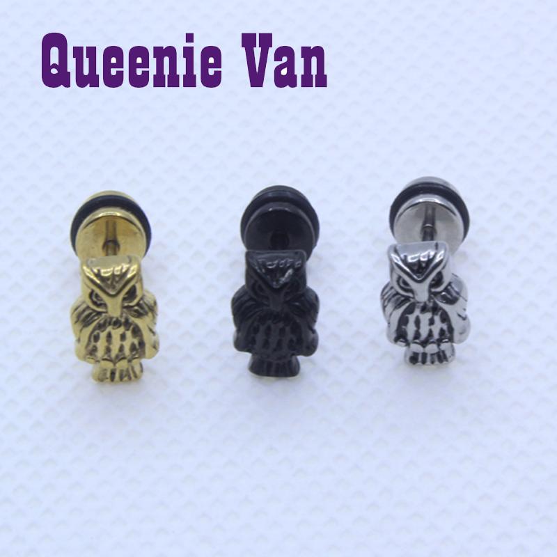 Cute Owl Women Piercing Stud Earrings Titanium Steel Golden Black Male Ear Tunnel Brincos Body Pierced Earrings Punk Jewelry(China (Mainland))